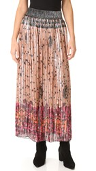 Anna Sui Lion In The Sky Metallic Maxi Skirt Blush Multi