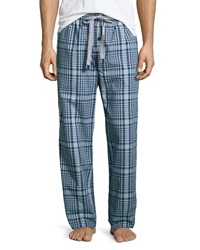 Psycho Bunny Plaid Drawstring Lounge Pants Blue