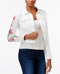 Guess Floral Print Cropped Denim Jacket Vedo Open