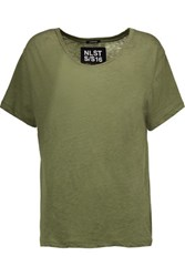 Nlst Classic Tee Slub Cotton Blend T Shirt Army Green