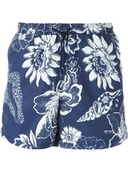 Etro Floral Print Swim Shorts Blue
