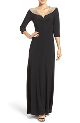 Betsy And Adam Women's Beaded Neck Gown