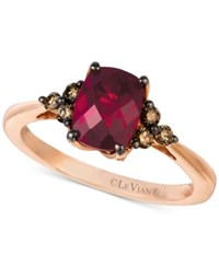 Le Vian Chocolatier Rhodolite Garnet 1 1 4 Ct. T.W. And Diamond 1 4 Ct. T.W. Ring In 14K Rose Gold Red