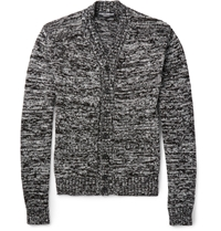 Dolce And Gabbana Two Tone Cotton And Silk Blend Cardigan Black