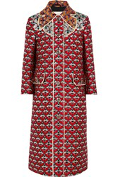 Gucci Metallic Jacquard Coat Red