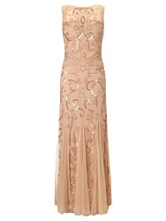 Ariella Karla Sequin And Beaded Evening Gown Blush