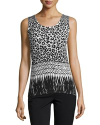 Neiman Marcus Cashmere Collection Mixed Animal Print Cashmere Tank Women's