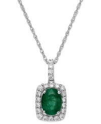 Macy's Emerald 3 4 Ct. T.W. And White Sapphire 3 8 Ct. T.W. Pendant Necklace In Sterling Silver