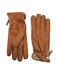 Want Les Essentiels Chopin Leather Zip Gloves Toffee Black