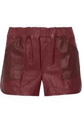 A.L.C. Parker Leather Shorts Red