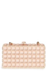 Natasha Couture Box Clutch Metallic Rose Gold