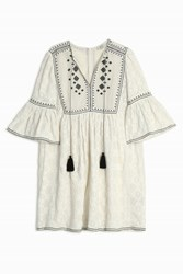 Talitha Geometric Embroidered Gypsey Dress White