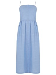 Warehouse Cotton Cami Midi Dress Light Blue