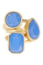 Vince Camuto Glass Stone Stack Ring Set Size 7 Blue