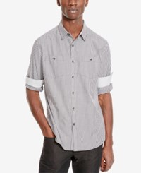 Kenneth Cole Reaction Men's Double Pocket Check Long Sleeve Shirt Ash Grey Combo