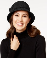 Nine West Felt Self Flower Cloche Black