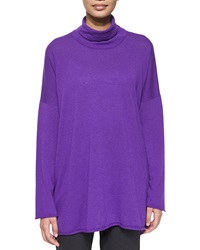Eskandar Cashmere Mock Neck Sweater Purple