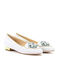 Charlotte Olympia Aquarius Suede Slipper Style Loafers Light Grey