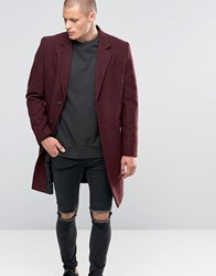 Asos Wool Mix Overcoat In Burgundy Burgundy Red