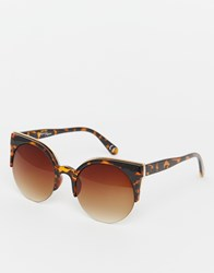 Jeepers Peepers Metal Tip Round Sunglasses Brown
