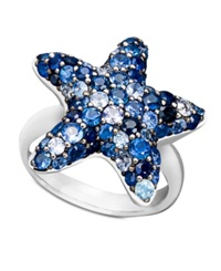 Macy's Saph Splash By Effy Collection Sterling Silver Ring Multicolor Sapphire Pave Starfish Ring 2 3 4 Ct. T.W. Blue