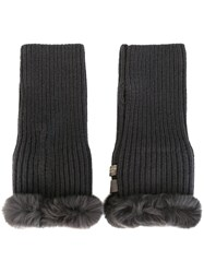 N.Peal Rabbit Fur Trim Fingerless Gloves Grey