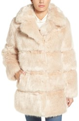 Kate Spade Women's New York Grooved Faux Fur Coat Champange