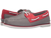Sperry Gold A O 2 Eye Two Tone Grey Red Men's Moccasin Shoes Multi