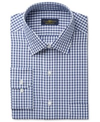 Club Room Estate Men's Big And Tall Classic Fit Wrinkle Resistant Navy Check Dress Shirt Only At Macy's