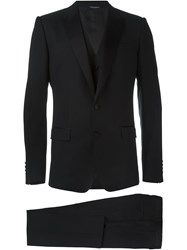 Dolce And Gabbana Three Piece Tuxedo Suit Black