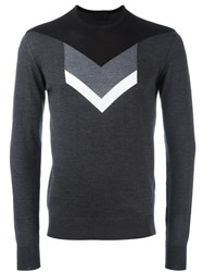 Les Hommes Arrow Intarsia Sweater Grey