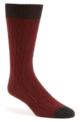 Men's Hook Albert Cable Knit Socks Brown Brown Twist
