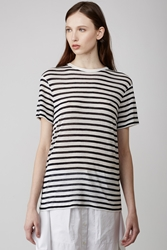 Alexander Wang Striped Rayon Linen Short Sleeve Tee Off White Navy