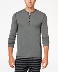Kenneth Cole Reaction Men's Ribbed Henley Sleep Shirt Black