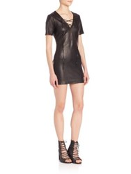 Theperfext Amber Lace Up Leather Dress Black Leather