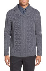 Zachary Prell 'Hammersmith' Shawl Collar Cable Knit Sweater Charcoal