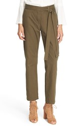 Tibi Women's 'Army Men' Tie Waist Twill Cargo Pants Loden Green