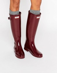 Hunter Original Refined Gloss Dulse Tall Wellington Boots Dulse Red