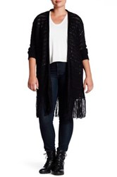 Research And Design Crochet Knit Fringe Cardigan Plus Size Black