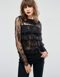 Asos Top With Ruffle Collar In Lace Black Navy