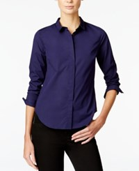 Armani Exchange Long Sleeve Button Down Shirt Solid Dark