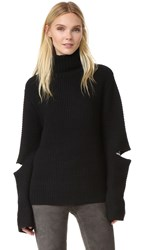 Public School Angled Sleeve Pullover Sweater Black
