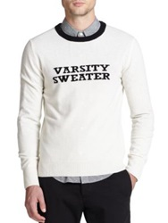 Band Of Outsiders Varsity Sweater Wool Pullover Ivory
