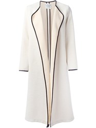 Forte Forte Contrast Trim Long Coat Nude And Neutrals