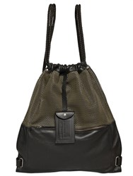 Diesel Perforated Leather Drawstring Backpack