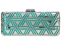 Bcbgmaxazria Kerri Metal Triangle Cage Clutch Teal Clutch Handbags Blue