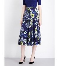 Erdem Hasu Night Print Silk Georgette Midi Skirt Navy Yellow