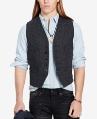 Denim And Supply Ralph Lauren Men's Slim Fit Tweed Vest Black