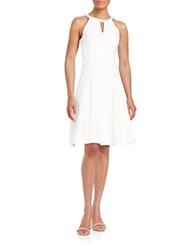 London Times Plus Beaded Neckline A Line Dress White