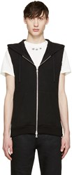 Balmain Black Sleeveless Zip Up Hoodie